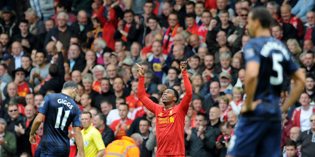 LIVERPOOL, ENGLAND - SEPTEMBER 01: (THE SUN OUT & THE SUN ON SUNDAY OUT) Daniel Sturridge of Liverpool celebrates his goal during the Barclays Premier League match between Liverpool and Manchester United at Anfield on September 01, 2013 in Liverpool, England. (Photo by Andrew Powell/Liverpool FC via Getty Images)