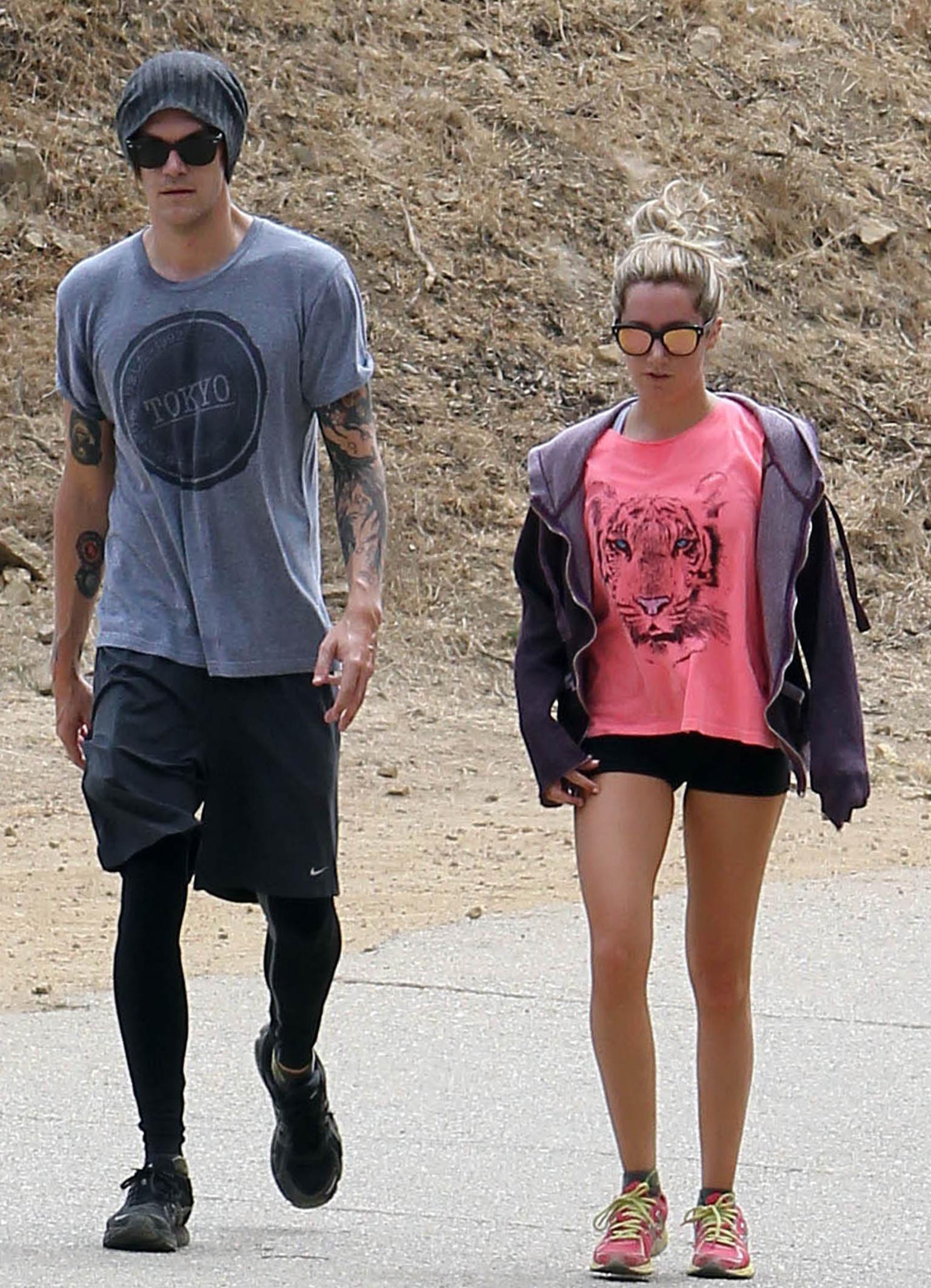 Ashley Tisdale Rocks Shorts While Hiking With Fiance