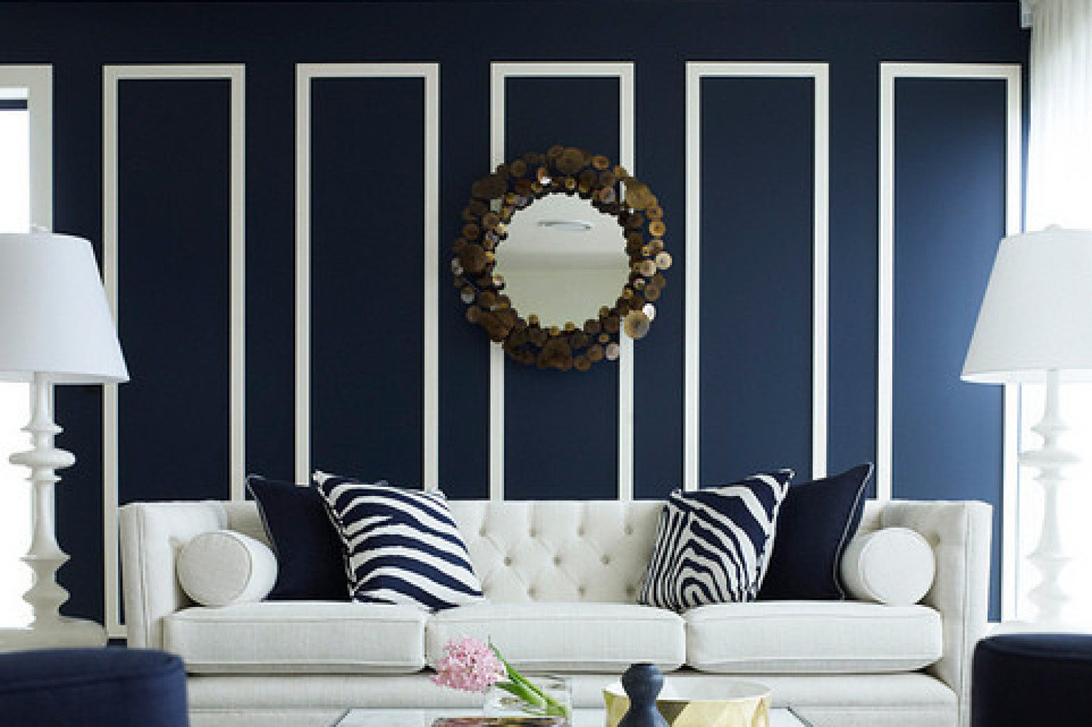 navy and white living room. 10 Navy Rooms To Inspire You Pick Up The Paintbrush  PHOTOS HuffPost
