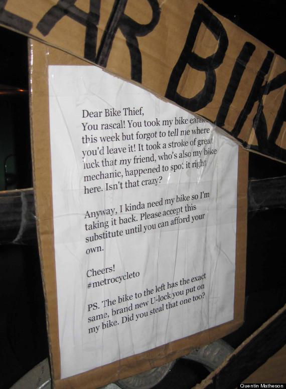 quentin matheson bike letter