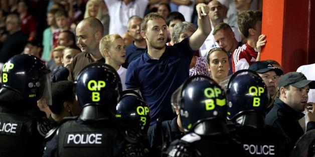 Police segregate fans after local derby match in Bristol