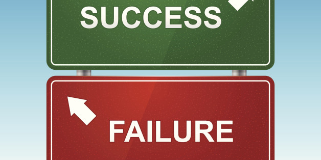Road sign with choice of success and failure. Layered file. System font used.