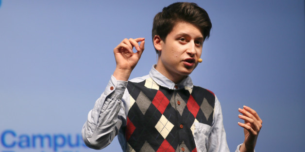 Nick D'Aloisio, a British computer app programmer and designer, speaks at the Campus Party computer coding event at the 02.