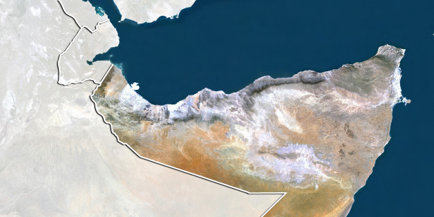 Satellite view of Somalia (with border and mask). This image was compiled from data acquired by LANDSAT 5 & 7 satellites.