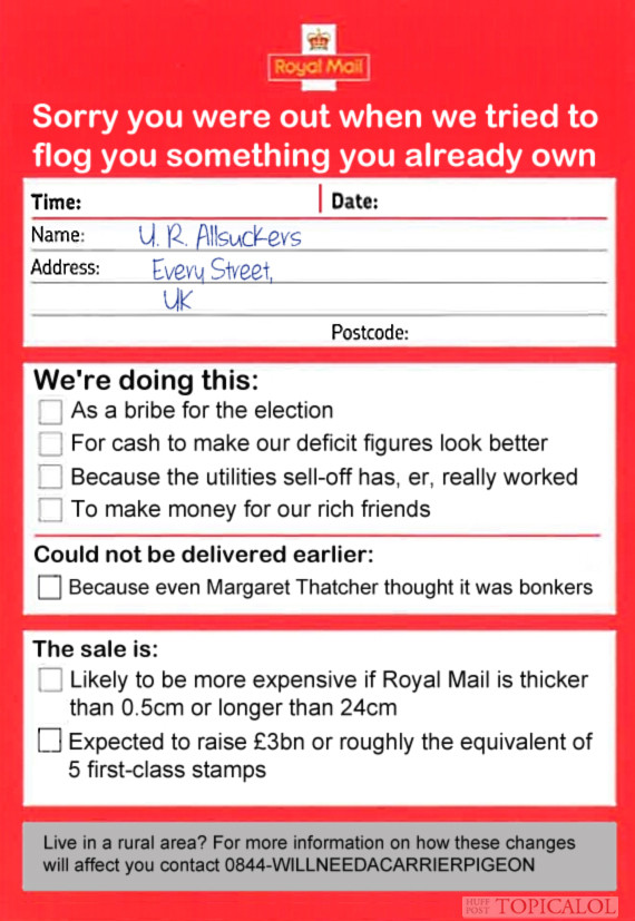 post office privatisation spoof