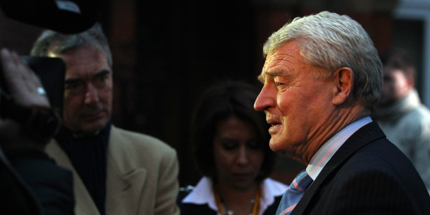 Ex-Liberal Democrat leader Paddy Ashdown speaks with waiting media outside the Liberal Democrat party headquarters as the results of the UK General Election are announced on May 7, 2010