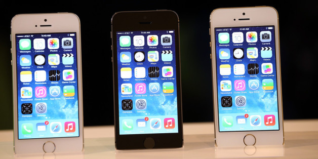 The new iPhone 5S is displayed during an Apple product announcement at the Apple campus on Sept. 10, 2013, in Cupertino, Calif. iPhone 5S reviews were mostly positive ahead of the phone's release. (Photo by Justin Sullivan/Getty Images)