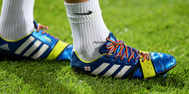 LONDON, ENGLAND - SEPTEMBER 18: Joey Barton of QPR wears rainbow-coloured shoe laces as part of a campaign against homophobia in football during the Sky Bet Championship match between Queens Park Rangers and Brighton & Hove Albion at Loftus Road on September 18, 2013 in London, England. (Photo by Charlie Crowhurst/Getty Images)