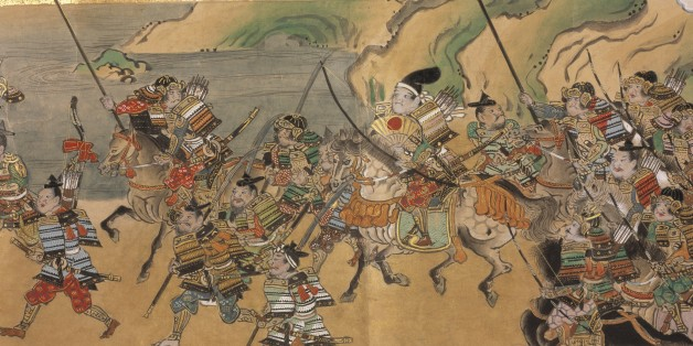 Japanese warriors and goblins, A Japanese tale of the Muromachi period (c.1390-1570) describing the exploits of a warrior hero named Yuriwaka, against the Mongol invasion. Image taken from Yuriwaka Daijin. Originally published/produced in early Edo period (1640-1680). (Photo by The British Library/Robana via Getty Images)