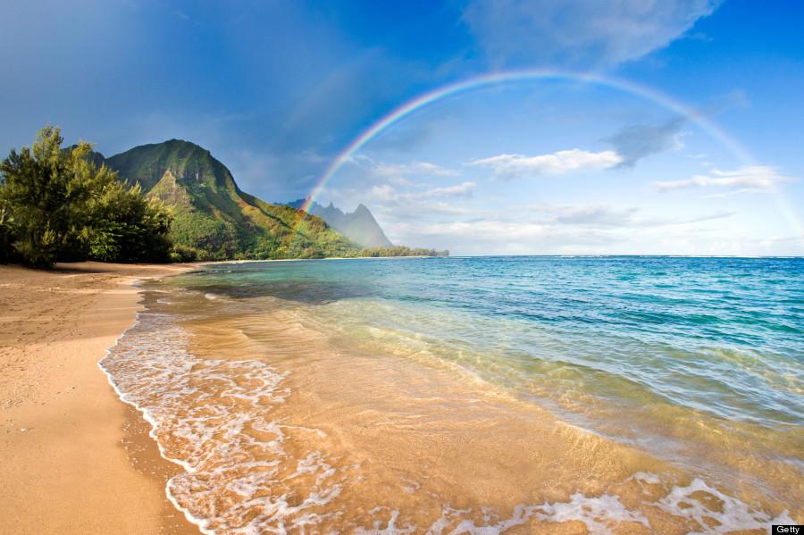 美しい海と虹