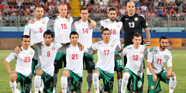 The Bulgarian national side line up before their match with Malta