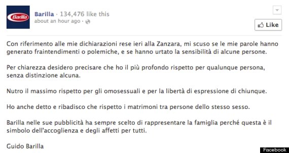barilla facebook apology
