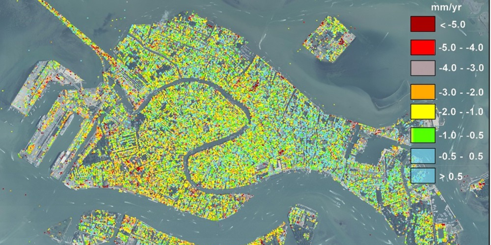 Venices Sinking Map From Satellite Data Teases Apart Natural Man - Venice map image