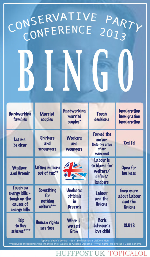 tory party conference bingo card
