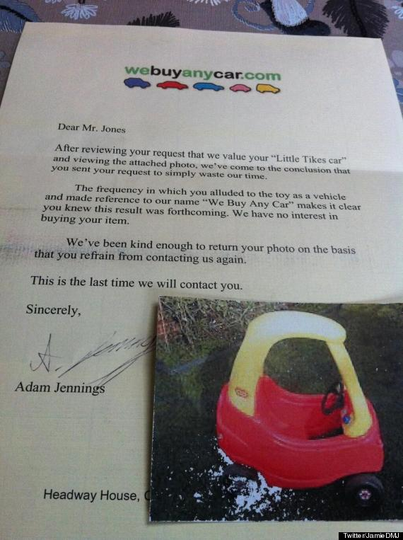 we buy any car spoof letter