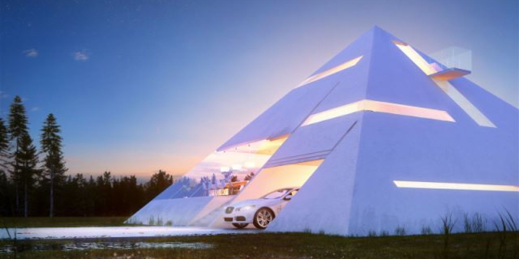 The pyramid house would belong in ancient egypt or modern for Modern day houses