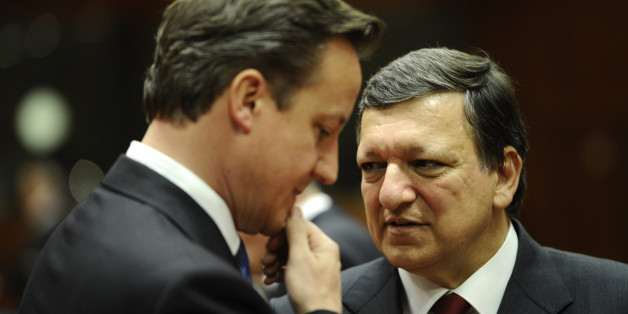 British Prime Minister David Cameron (L) and European Commission President  Jose Manuel Barroso talk prior to a meeting of European Union leaders in Brussels on May 23, 2012. Europe's leaders are expected to shift their focus from austerity to growth at a summit Wednesday amid accelerating worries over Greece's eurozone future and Spain's troubled banks.   AFP PHOTO / LIONEL BONAVENTURE        (Photo credit should read LIONEL BONAVENTURE/AFP/GettyImages)