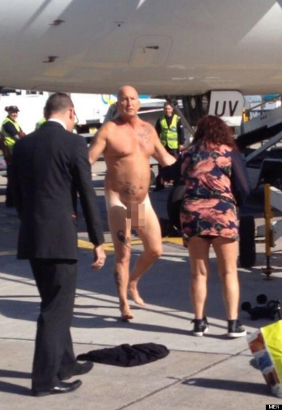 naked drunk guy taser manchester airport