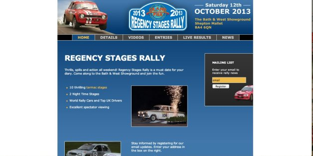 The website for the Regency Stages Rally, where the crash occurred