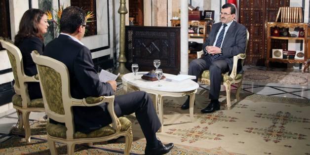 Le chef du gouvernement Ali Larayedh lors de l'interview diffusée le 12 octobre 2013 sur Al Wataniya 1