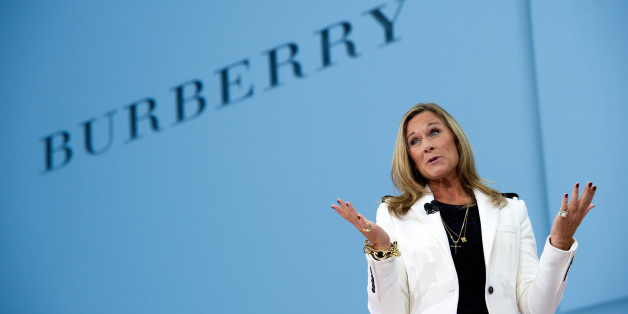 Angela Ahrendts, chief executive officer of Burberry Group Plc, speaks during a keynote speech at the DreamForce 2011 conference in San Francisco, California, U.S., on Wednesday, Aug. 31, 2011. The conference, in its ninth year, brings together leaders in cloud computing for breakout sessions, training and networking. Photographer: David Paul Morris/Bloomberg via Getty Images