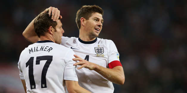LONDON, ENGLAND - OCTOBER 15:  James Milner and Steven Gerrard of England celebrate at the final whistle during the FIFA 2014 World Cup Qualifying Group H match between England and Poland at Wembley Stadium on October 15, 2013 in London, England.  (Photo by Scott Heavey - The FA/The FA via Getty Images)
