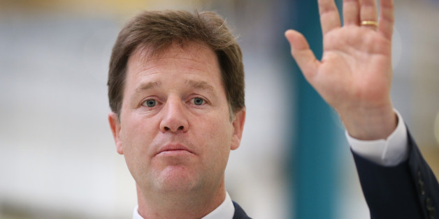LONDON, ENGLAND - OCTOBER 08:  Deputy Prime Minister Nick Clegg gestures as he speaks at the Buhler Sortex factory on October 8, 2013 in east  London, England. Mr Clegg gave a speech on Britain and Europe to reporters and workers.  (Photo by Peter Macdiarmid/Getty Images)