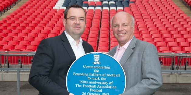 Greg Dyke and Alex Horne show off the plaque