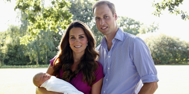 BUCKLEBURY, BERKSHIRE - AUGUST 2013:  (EDITORIAL USE ONLY - NO SALES) In this handout image provided by Kensington Palace, Catherine, Duchess of Cambridge and Prince William, Duke of Cambridge pose for a photograph with their son, Prince George Alexander Louis of Cambridge in the garden of the Middleton family home in August 2013 in Bucklebury, Berkshire.  (Photo by Michael Middleton/Kensington Palace via Getty Images)