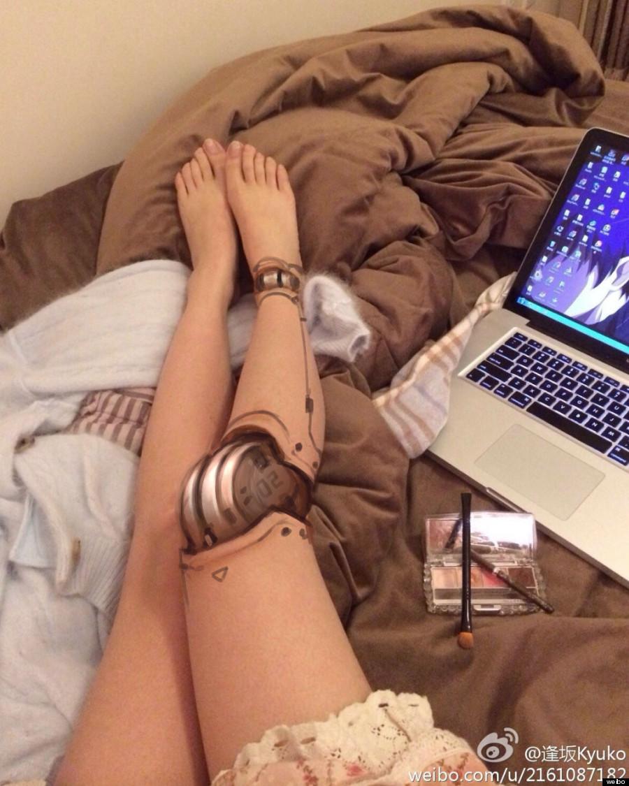 robot leg makeup