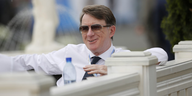 Peter Mandelson, former U.K. business secretary, reacts while sitting at an outdoor terrace on the opening day of the St. Petersburg International Economic Forum 2013 (SPIEF) in St. Petersburg, Russia, on Thursday, June 20, 2013. Russian consumer spending probably eased and investment shrank at the fastest pace since 2011, adding to evidence the $2 trillion economy is stalling. Photographer: Simon Dawson/Bloomberg via Getty Images