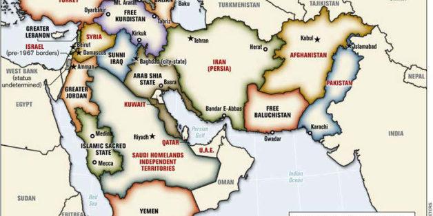 """La carte du """"Nouveau Moyen Orient"""" conçue par le Lieutenant-Colonel Ralph Peters"""