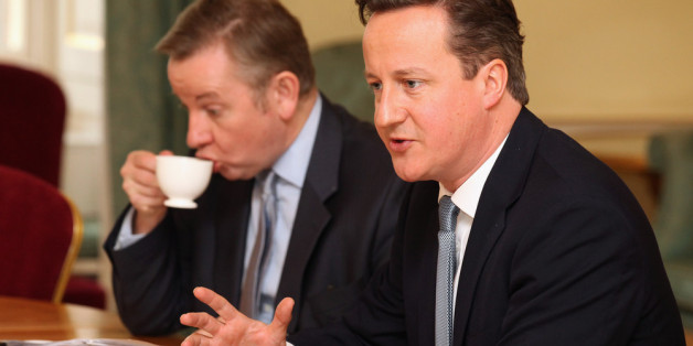 LONDON, ENGLAND - JANUARY 17: British Prime Minister David Cameron (R) and Education Secretary Michael Gove (L) attend a meeting on education in Number 10 Downing Street on January 17, 2012 in London, England. The meeting brought together educational professionals with experience of improving pupil underperformance and included Ofsted's Chief Inspector, Sir Michael Wilshaw. (Photo by Oli Scarff - WPA-Pool/Getty Images)