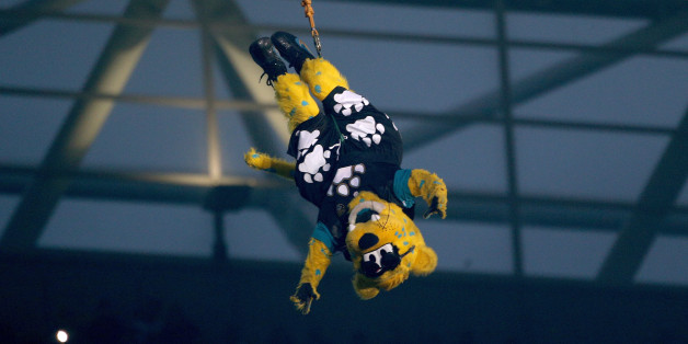 LONDON, ENGLAND - OCTOBER 27:  Jacksonville Jaguars mascot Jaxson de Ville performs ahead of the NFL International Series game between San Francisco 49ers and Jacksonville Jaguars at Wembley Stadium on October 27, 2013 in London, England.  (Photo by Charlie Crowhurst/Getty Images)