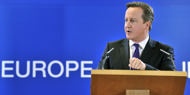 British Prime Minister David Cameron speaks during a press conference at the end of the second and last day of an European Union (EU) Council meeting on October 25, 2013 at the EU Headquarters in Brussels. Europe's leaders sought how to deal with the drama of Mediterranean boat-people today, weeks after the deaths by drowning of 400 refugees fleeing conflict shocked many across the continent.AFP PHOTO / GEORGES GOBET        (Photo credit should read GEORGES GOBET/AFP/Getty Images)
