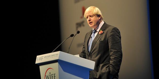 LONDON, ENGLAND - OCTOBER 30:  Mayor of London Boris Johnson presents at the World Islamic Economic Forum at ExCel on October 30, 2013 in London, England.  (Photo by Bethany Clarke/Getty Images for 9th World Islamic Economic Forum)