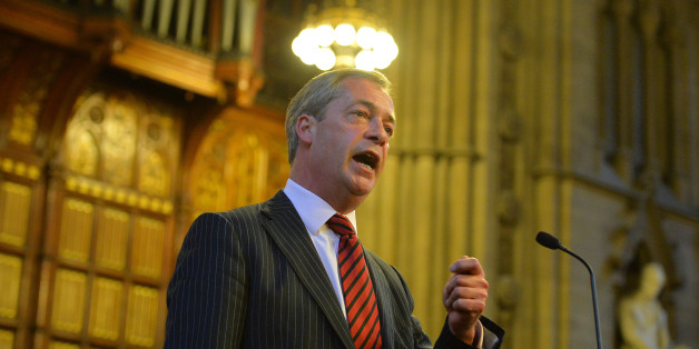UK Independence Party (UKIP) leader Nigel Farage addresses the Bruges Group at the Manchester Town Hall in north-west England, on September 30, 2013. AFP PHOTO/Leon Neal        (Photo credit should read LEON NEAL/AFP/Getty Images)