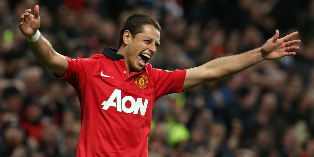 MANCHESTER, ENGLAND - OCTOBER 29:  Javier 'Chicharito' Hernandez of Manchester United celebrates scoring their second goal during the Capital One Cup Fourth Round match between Manchester United and Norwich City at Old Trafford on October 29, 2013 in Manchester, England.  (Photo by Matthew Peters/Man Utd via Getty Images)