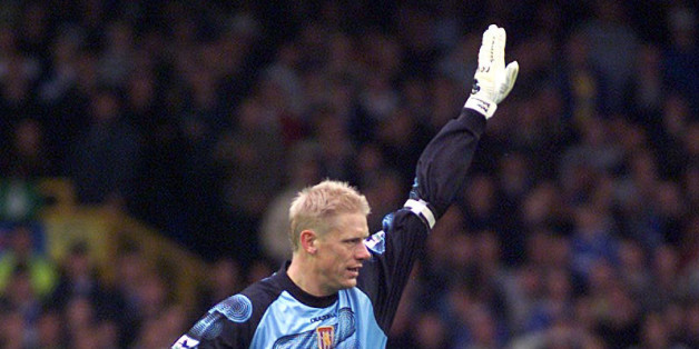 20 Oct 2001: Peter Schmeichel, Aston Villa's goalkeeper, celebrates scoring during the match between Everton and Aston Villa at Goodison Park, Everton. DIGITAL IMAGE Mandatory Credit: Gary M. Prior/ALLSPORT