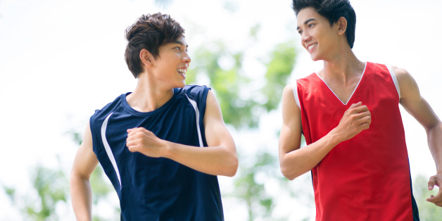 two healthy boys jogging in the ...