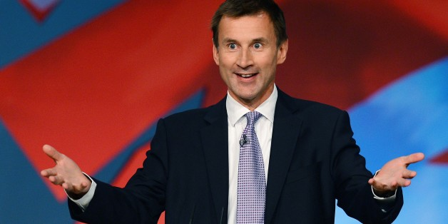 Secretary of State for Health Jeremy Hunt speaks to delegates during the third day of the annual Conservative Party Conference at the ICC in Birmingham, central England on October 9, 2012. AFP PHOTO/ANDREW YATES.        (Photo credit should read ANDREW YATES/AFP/GettyImages)