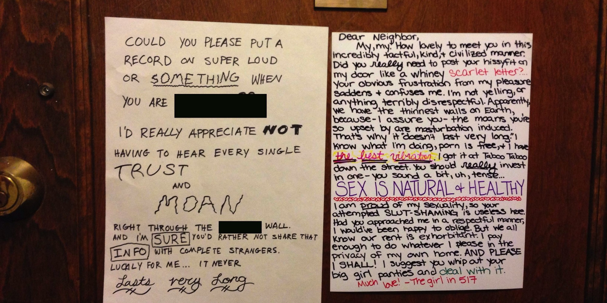 Neighbor sex loud
