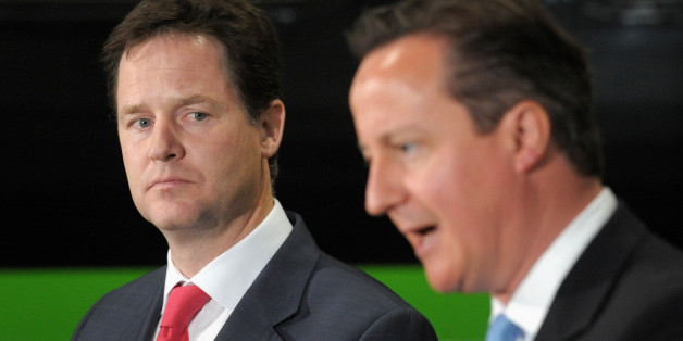 Prime Minister David Cameron and Deputy Prime Minister Nick Clegg give a speech at the Soho Depot in Smethwick.