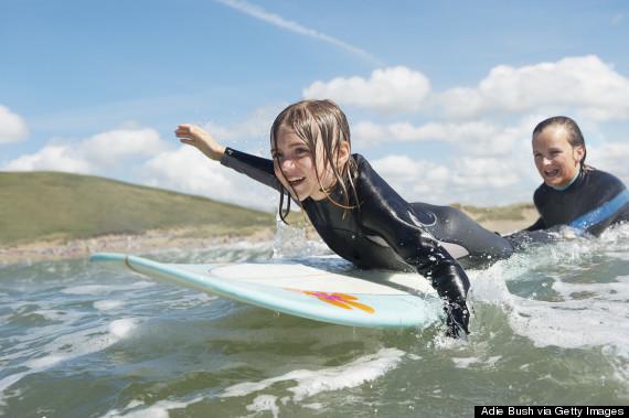 child surfing