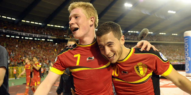 BRUSSELS, BELGIUM - JUNE 07: Kevin De Bruyne of Belgium and Eden Hazard of Belgium celebrates the win during the FIFA 2014 World Cup Group A qualifying match between Belgium and Serbia at the King Baudouin stadium on June 07, 2013 in Brussels, Belgium. (Photo by Nico Vereecken / Photonews via Getty Images)