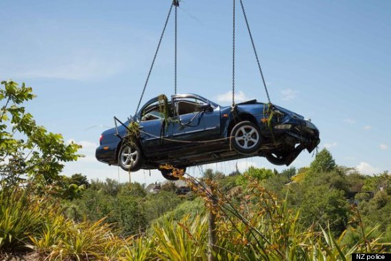 car lifted from river