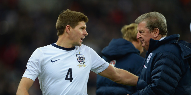 LONDON, ENGLAND - NOVEMBER 19:  England manager Roy Hodgson speaks to Steven Gerrard of England during the International Friendly match between England and Germany at Wembley Stadium on November 19, 2013 in London, England.  (Photo by Michael Regan - The FA/The FA via Getty Images)