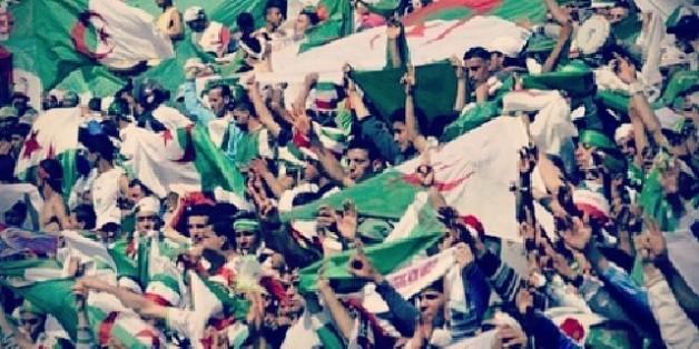 La joie algérienne dans le stade de Blida, à 50 km d'Alger, lors du match contre le Burkina-Faso (1-0)