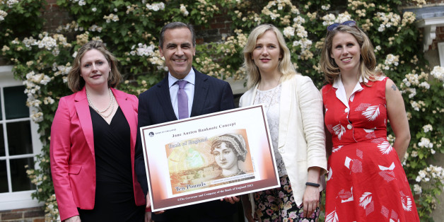 Left to right, Mary Macleod, a Conservative member of parliament, Mark Carney, governor of the Bank of England, Stella Creasy, a Labour and Co-operative member of parliament, and Caroline Criado-Perez, co-founder of the Women's Room, pose for a photograph following the presentation of the concept design for the new Bank of England ten pound banknote, featuring author Jane Austen at the Jane Austen House Museum in Chawton, near Alton, U.K., on Wednesday, July 24, 2013. Jane Austen will appear on