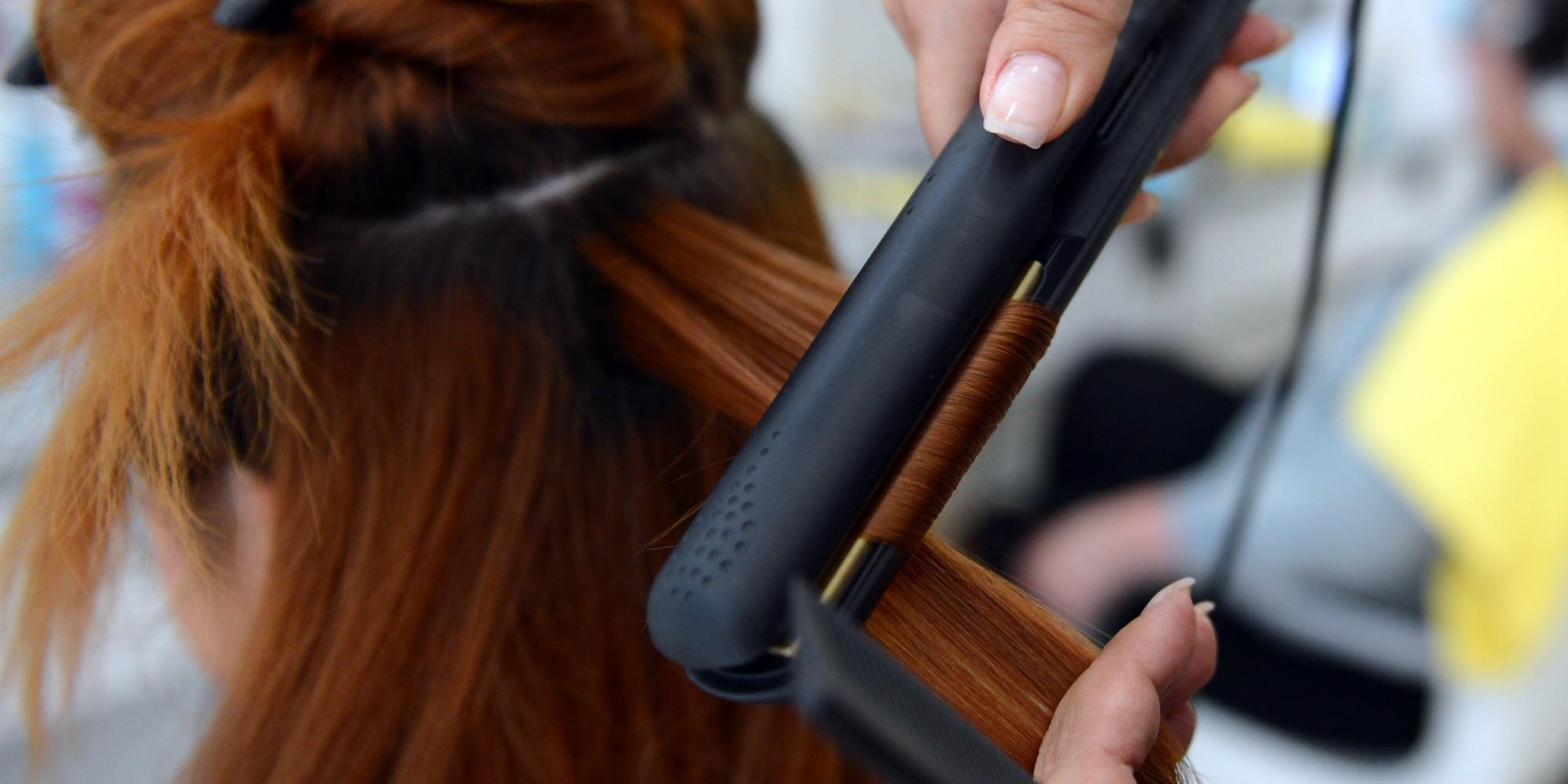 Image result for straight hair using straightener